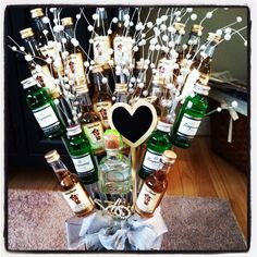 birthday for him. Birthday For Him, 21st Birthday, Birthday Presents, Birthday Ideas, Alcohol Bouquet, Liquor Bouquet, Homemade Gifts, Diy Gifts, Man Bouquet