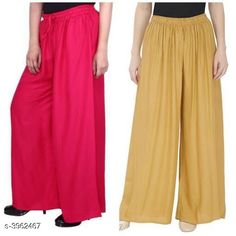 Checkout this latest Palazzos Product Name: *New Fabulous Rayon Women's Palazzos Combo * Fabric: Rayon Waist Size: Up To 28 in To 42 in (Free Size ) Length: Up To 39 in Type: Stitched Description: It Has 2 Pieces Of Women's Palazzos  Pattern: Solid Country of Origin: India Easy Returns Available In Case Of Any Issue   Catalog Rating: ★4 (755)  Catalog Name: Lasafiya Fabulous Rayon Women's Palazzos Combo CatalogID_558946 C79-SC1039 Code: 363-3962467-498