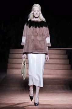 EVEN SWEATIER FOR SPRING: A FUR TOP AND PATENT LEATHER SKIRT!  MIU MIU SS13