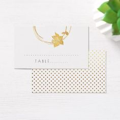 White  Flower Gold Small Polka Dots Table Card - gold wedding gifts customize marriage diy unique golden