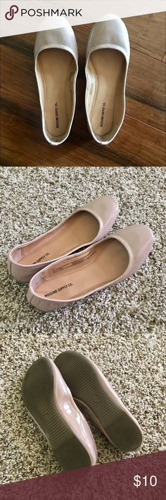 Mossimo classic beige flats, in good condition I wore these once and then I found Tieks. I've never worn these again, but they're still super cute. Small scuff but otherwise in great shape and ready for a new owner.   🚫 I don't do trades 💵 Price is not negotiable Mossimo Supply Co Shoes Flats & Loafers