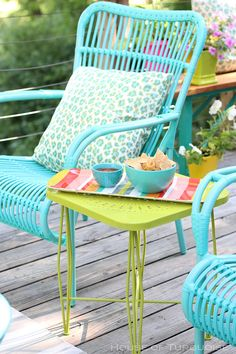 My Deck Makeover Reveal! (House of Turquoise) Turquoise metal casual chairs and tables. Spray paint tired metal furniture with brightly colored paint. Turquoise Chair, House Of Turquoise, Turquoise Furniture, Pink Turquoise, Teal, Diy Outdoor Furniture, Outdoor Chairs, Outdoor Decor, Furniture Ideas