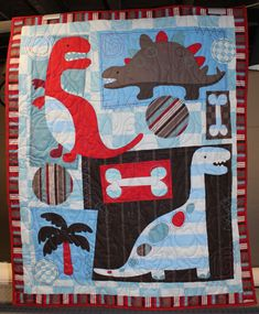 Dinosaur Quilt Kid's Toddler/Lap/Crib/Wall by carsondesign on Etsy, $75.00