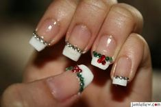 Christmas Nail Art Design this would be better if it was painted on, because jewels tend to fall off. but its still really cute