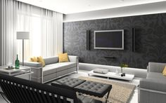 The gray accent wall in this modern living room blends nicely with the wall-mounted TV and sound system.