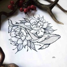 Whale-Flowers-Tattoo-Idea-by-Katya-Geta-728x728.jpg (728×728)