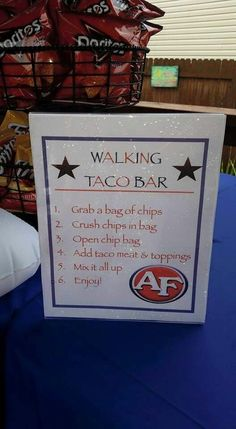 Walking Taco bar for graduation party, was a BIG hit with guests! Walking Taco bar for graduation party, was a BIG hit with guests! Graduation Party Foods, College Graduation Parties, Graduation Celebration, Grad Parties, Graduation Gifts, Graduation Ideas, Graduation 2016, Bachelorette Parties, Taco Bar