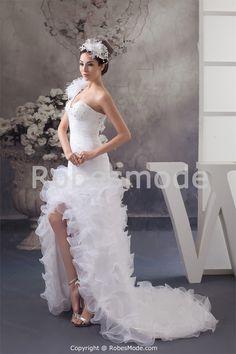 Robe de bal de promo 2013 blanche en satin et organza jupe à volants € 192.99