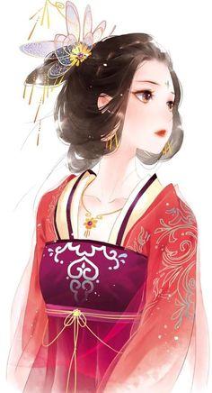 Kimono Animé, Anime Kimono, Pretty Anime Girl, Kawaii Anime Girl, Anime Art Girl, Chinese Drawings, Chinese Art, Art Anime Fille, Art Chinois