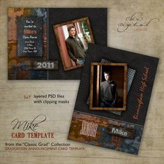 Graduation Announcement Card Template for photographers - 5x7 Guys Senior Graduation Invitation - MIKE