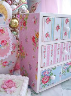 wooden drawers with paper decoupaged (for sale on etsy: Birds and Blossoms Boutique and Design)