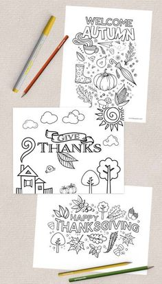 Free Thanksgiving Coloring Pages Three Free Thanksgiving Coloring Pages! Perfect for home, church, s Free Thanksgiving Coloring Pages, Free Thanksgiving Printables, Thanksgiving Art, Thanksgiving Crafts For Kids, Printable Coloring Pages, Thanksgiving Decorations, Coloring Pages For Kids, Free Printables, Coloring Sheets