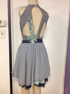 Grey dance dress with stunning contrasting aqua applique. Three layers of chiffon in grey, aqua and navy. Dance Moms Costumes, Lyrical Costumes, Ballet Costumes, Dance Outfits, Dance Dresses, Dance Ballet, Ice Dance, Dance Definition, Contemporary Dance Costumes