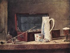 StillLife with Pipe and Jug by Jean-Baptiste-Simeon Chardin (Jean Baptiste Simeon Chardin), Oil on canvas