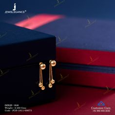 Plain Gold Earring gms) - Fancy Jewellery for Women by Jewelegance Gold Jhumka Earrings, Jewelry Design Earrings, Gold Earrings Designs, Gold Jewellery Design, Gold Drop Earrings, Gold Chain Design, Simple Earrings, Chain Earrings, Gold Ring Designs