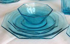 Vintage Aqua Blue Depression Glass 4 full serving sets. Octagon pattern (Eight sided).. $300.00, via Etsy.