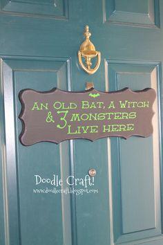 Halloween Front Door Vinyl Sign! Bat, witch and monsters!