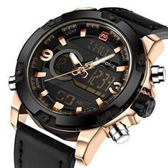 Tonnier Genuine Leather Band Analog Digital LED Dual Time Display Mens Watch BlackGold >>> Click image for more details.Note:It is affiliate link to Amazon.