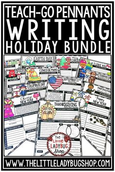 You will love this bundle of Holiday Writing Prompts for 3rd grade, 4th grade, and 5th grade students. The original and trademarked Teach-Go Pennants are bundled in this packet for you to use all year long! From Back to School Writing Pennants to your Happy New Year Writing Pennants! You will love these bulletin board displays! Perfect for third grade, fourth grade, and home school curriculum. #holidaywritingprompts #bulletinboard #writingcenters