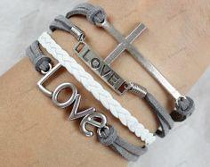 charm braceletslove bracelets  cross bracelets Mom by lifesunshine, $6.99