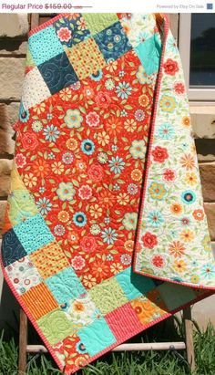 Baby Girl Quilt, Patchwork Pink Blue Red Primary Colors, Crib Blanket, Nursery Decor, Bedding, Handmade Shower Gift