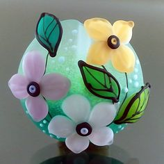 PIKALDA=handmade lampwork 1 focal glass bead flower blossom=BIG BLOOM=SRA
