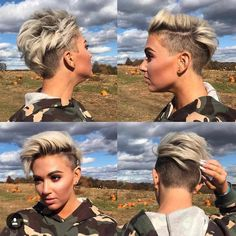 40 Gorgeous Short Pixie Cut Hairstyles 2019 - - Short Hairstyles - Hairstyles 2019 On the off chance that you have extremely fine hair, it's anything but difficult to feel like you're constrained with the haircuts that you can work with. Short Curly Hair, Short Hair Cuts, Curly Hair Styles, Short Hair With Undercut, Undercut Pixie, Short Pixie Haircuts, Cool Haircuts, Short Mohawk Hairstyles, Pixie Haircut For Round Faces