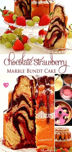 SugaryWinzy Chocolate Strawberry Marble Bundt Cake More from my siteStrawberry Mini Bundt Cakes with White Chocolate Ganache Strawberry Cakes, Strawberry Recipes, Pinwheel Cookies, Cake Recipes, Dessert Recipes, Cake Mixture, Marble Cake, Moist Cakes, Chocolate Strawberries