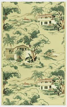 Vintage wallpaper found by Suzanne Lipschutz. Via Messy Nessy Chic.