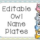 Editable owl themed name plates. $