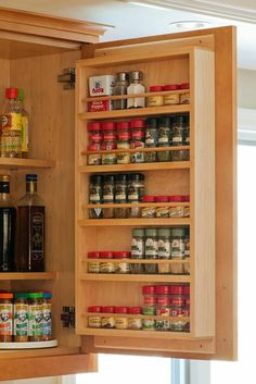spices will store easily on the backs of doors (like the door to the pantry closet)