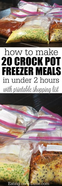 How to Make 20 Crockpot Freezer Meals in under 2 hours! Now you can spend more time with your family and less time cooking! (And a Free Printable Shopping List!) (Slow Cooker Recipes To Freeze) Slow Cooker Freezer Meals, Crock Pot Freezer, Freezer Cooking, Slow Cooking, Freezer Recipes, Cooking Tips, Budget Recipes, Freezer To Crockpot Meals, Crock Pot Dump Meals