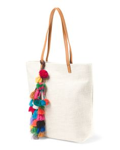 Straw+Tote+With+Pom+Poms