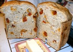 Homemade Cheese and Pepperoni Bread (Bread Machine) from Food.com:   								This is a delicious chewy bread flecked with spicy pepperoni and mozzarella cheese. Cook time is according to bread machine. Makes great garlic bread to serve with an Italian meal.