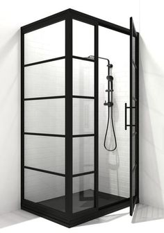 Gridscape corner shower doors feature a hinged swing shower door with an adjacent inline panel and a perpendicular 90 degree return panel The matte black frame finish. Corner Shower Doors, Corner Door, Glass Shower Doors, Shower Screens, Glass Doors, Shower Pan Sizes, Coastal Shower Doors, Custom Shower Doors, Black Shower