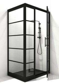 Gridscape GS1 3Panel Corner Shower Door in Black with