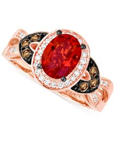 Le Vian Fire Opal (3/5 ct. t.w.) and Diamond (1/4 ct. t.w.) Ring in 14k Rose Gold
