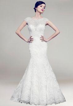 Wide Straps Scoop Neck Appliqued Mermaid Train Bridal Wedding Dress