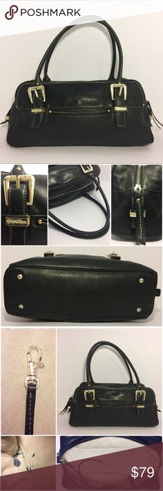 "Michael Kors Black Leather Shoulder Bag Vintage beauty for the Michael Kors collector! Gorgeous combination of black pebbled and smooth leather in perfect condition detailed with light stitching and studs. Mirror front and back with 6"" slip pockets. Dual rolled handles attached to buckles with signature Michael Kors metal embellishments. All the heavy silver hardware has signs of wear.  Top zipper closure. Canvas intact interior with one zipper pouch and two accessory pockets. Ink stains in…"