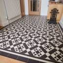 Tile shop in Derby supplying slate, marble, mosaic, porecelain, terracotta and victorian tiles for bathrooms and kitchens Black Laminate Flooring, Hall Flooring, Hallway Designs, Hallway Ideas, Victorian Tiles Bathroom, Victorian Flooring, Porch Tile, Tiled Hallway, Victorian Terrace House