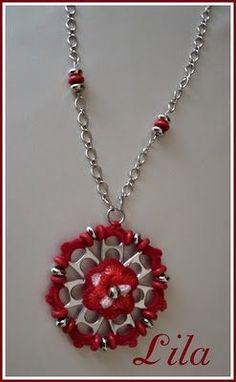 pop tab crafts | Artes da Lila: Colar flor de lacre em vermelho