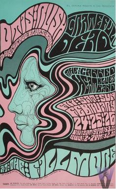 The Grateful Dead / 1967 The text swirls around the subjects.  The clean line are reflective of the style of that time.  Pay attention to the color scheme.
