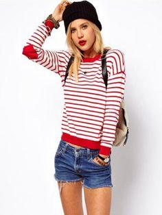 Striped Heart Patch Long Sleeve Knit Sweater