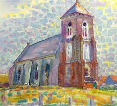 PIET MONDRIAN 1872 - 1944 Church In Zoutelande Not the style Piet Mondrian is most famous for, but a great piece of ART!