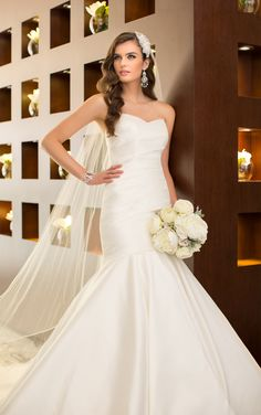 Strapless wedding dresses feature a fine balance of glamour and simplicity with Dolce Satin and a sweetheart neckline. Exclusive wedding dresses by Essense of Australia. #Essense #WeddingDress
