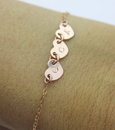 For Momma, sissy and me.   heart Initial bracelet . personalized 3 initials charm bracelet. All rose gold friendship Jewelry.