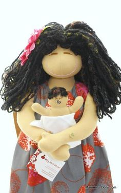 This doll is a one of a kind- original MamAmor doll classic. She gives birth and breastfeeds her newborn baby.She was made using top quality cotton interlock f