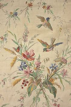 Antique French bird fabric c 1880 colorful hand block printed material in Antiques, Linens & Textiles (Pre-1930), Fabric | eBay