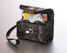 Sale! Black Croc Cubby, the alphabetized wallet,  Cell with Wristee, just $24! Wallet organizer, gift card organizer, coupon organizer.