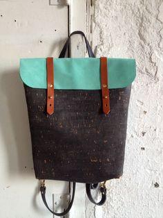 black cork and teal leather rucksack. $320.00, via Etsy.
